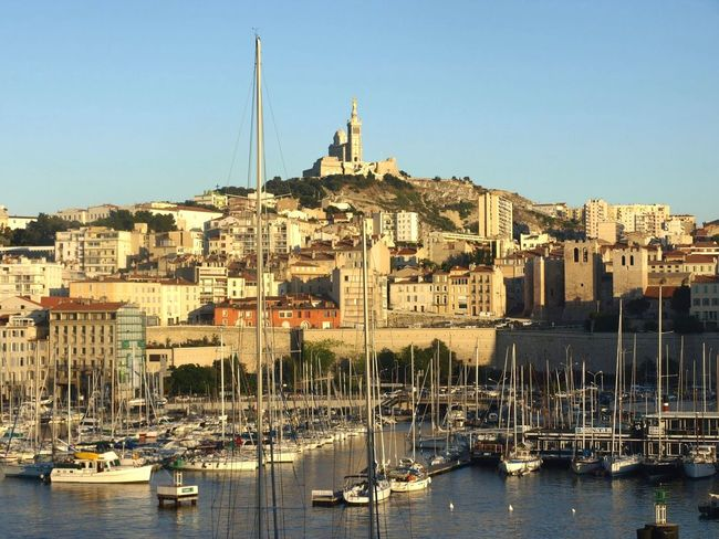 Water Architecture Harbor Sailboat Travel Destinations No People Sea Mast City Sailing Ship Outdoors Day Tourism Travel Landscape Marseille, France Clear Sky Summer Notredame