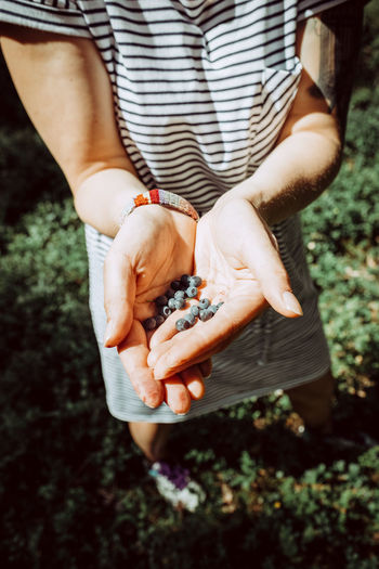 Low Section Of Woman Holding Blueberries At Tyresta National Park