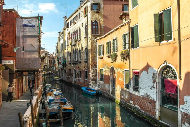 Venice - March 2017 Boat Shadows Canal Europe Italy Venice Gondola - Traditional Boat Canal Building Exterior Architecture Window Nautical Vessel Water Old Town Travel Destinations Outdoors Day Built Structure City Window Box Sky