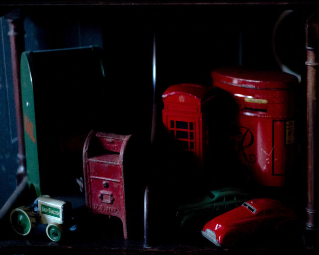 Close-up Letter Box Letter Boxes Mailbox Mailboxes Money Tins No People Part Of Red Stationary Toys