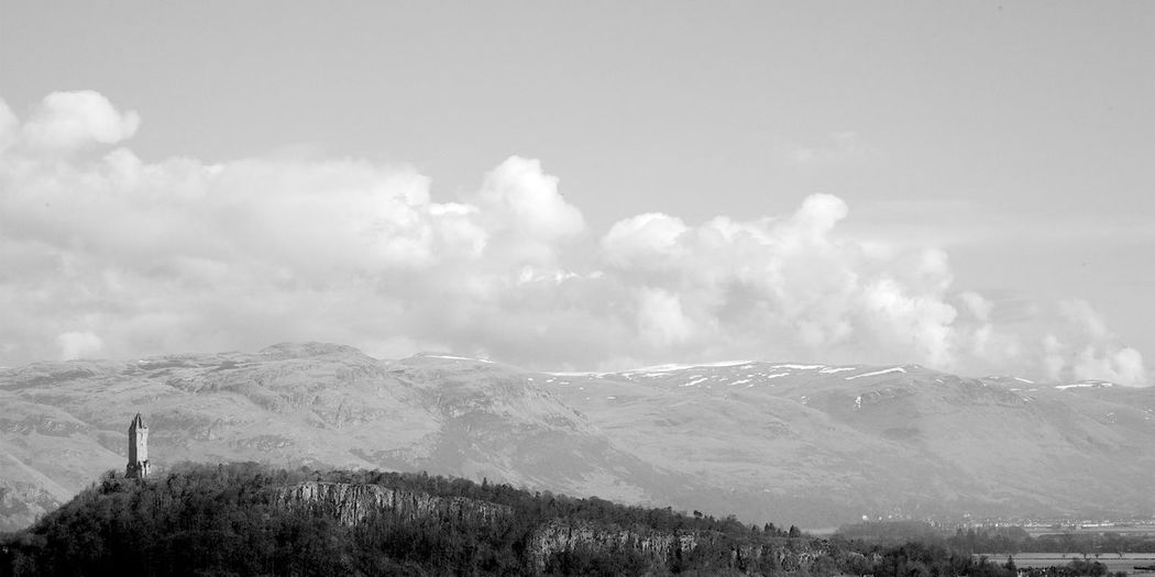 The Wallace Monument Mountain Environment Scenics - Nature Landscape Beauty In Nature Tranquility Tranquil Scene Travel Idyllic Remote Wallace Monument Stirling Scotland Blackandwhite Black And White