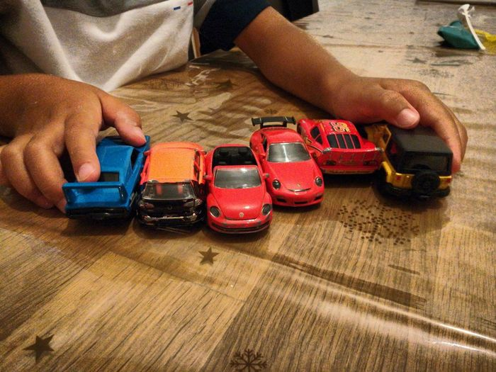 collection Voitures Jouets Cars Human Hand Table Close-up