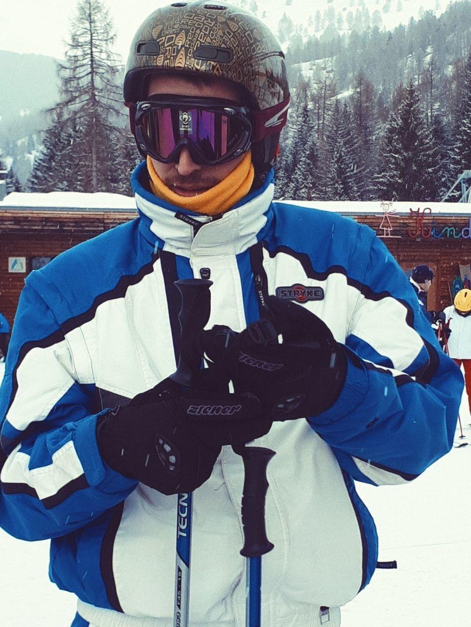 winter, cold temperature, snow, one person, clothing, leisure activity, portrait, front view, warm clothing, real people, winter sport, looking at camera, men, helmet, lifestyles, sport, nature, males, outdoors, crash helmet