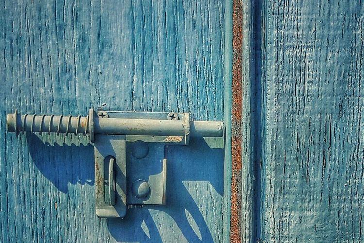 Latch Door Blue Door Hardware Locks Weathered Door
