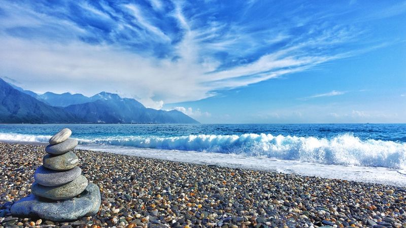 Water Sea Sky Cloud - Sky Scenics Beauty In Nature Nature Beach Pebble Tranquility Tranquil Scene Mountain Day No People Outdoors Horizon Over Water Wave Pebble Beach 七星潭