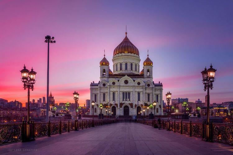 Закат к Храма Хоиста Спасителя, Россия Russia москва / Moskva хоамы Москвы Architecture