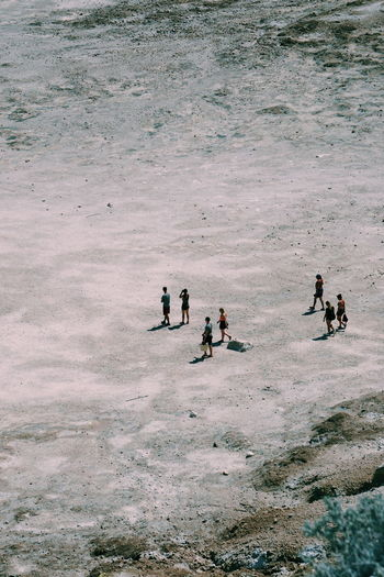High angle view of people in water