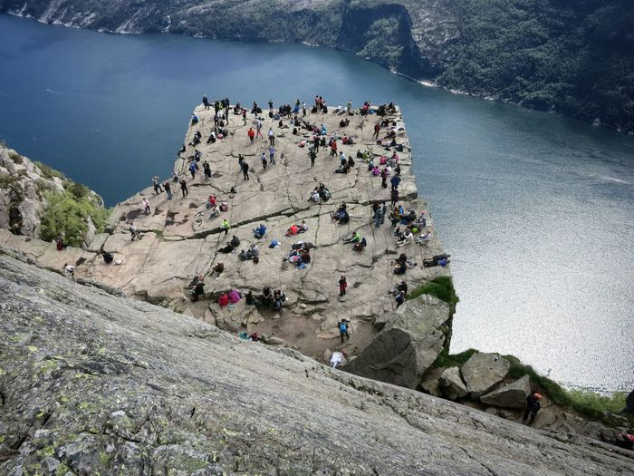 High Angle View Of People At Preikestolen