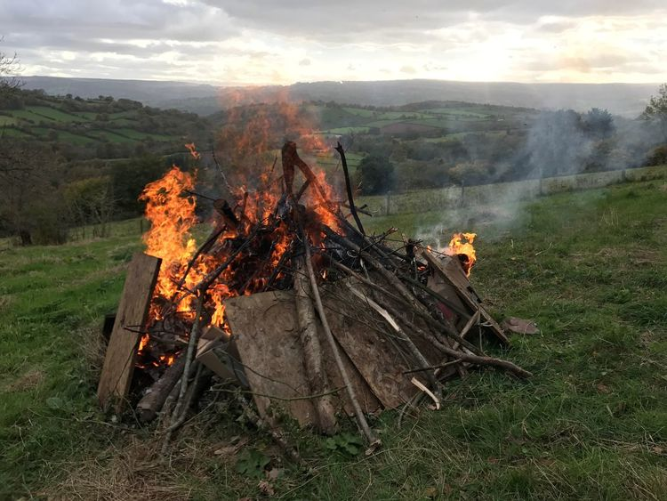 Bonfire, November 5th, Brecon Beacons Bonfire Night Heat - Temperature Burning Flame Fire Fire - Natural Phenomenon Nature Land No People Firewood Log Bonfire Field