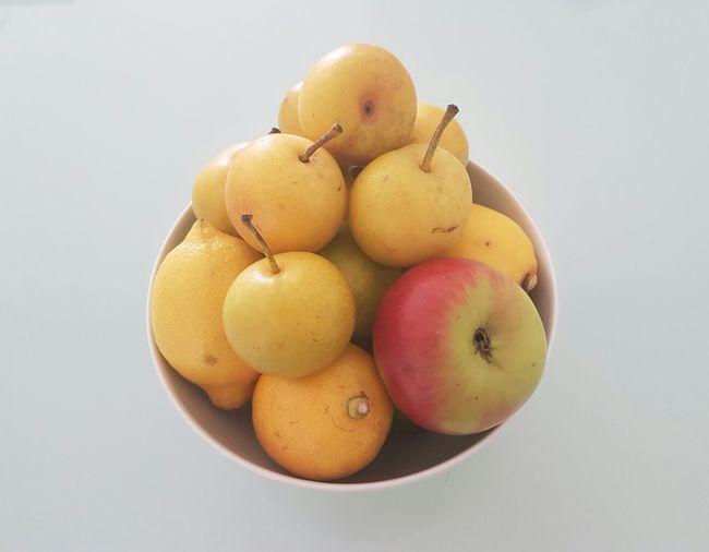 Apples Lemons And Nashi Pears Fruit Bowl