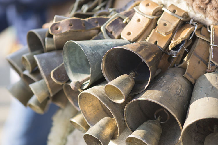 Tradition Bells Belt  Close-up Day Equipment Large Group Of Objects Metal Stack Still Life Analogue Sound