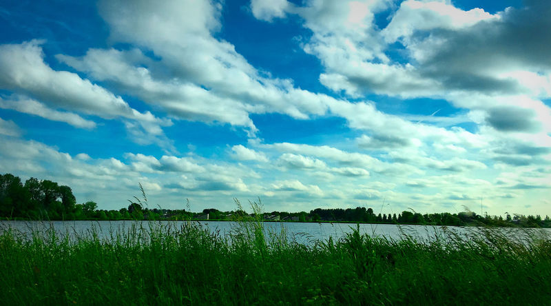 Nice landscape shot from hilversum lake. Shot taken with Nikon D7200 - Nikkor AF 18-140mm. Agriculture Beauty In Nature Cloud - Sky Danivisions Day Field Grass Green Color Growth Lake Landscape Nature No People Outdoors Rural Scene Scenics Sky The Netherlands Tranquil Scene Tranquility Water