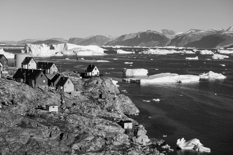 Ice Bergs On River Against Clear Sky