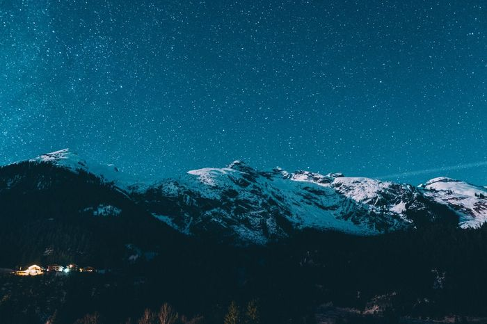 Snow Mountain Cold Temperature Nature Night Winter Scenics Beauty In Nature Outdoors No People Snowcapped Mountain Tranquility Star - Space Mountain Range Astronomy Landscape Sky Milky Way Galaxy Shades Of Winter