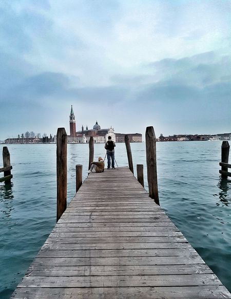 Venezia Venice, Italy San Giorgio Maggiore Pier Taking Photos Of People Taking Photos Showcase April Sea And Sky Water_collection Traveling Getting Inspired View From Behind Check This Out Beautiful View EyeEm Best Shots