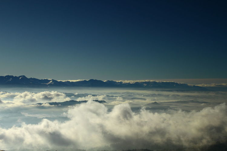 Panoramic view of cloudscape against blue sky