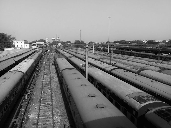 The Color Of Business Railroad Track Transportation Public Transportation Railway Track Journey Travel Outdoors Day Straight Railroad Station Rail Transportation High Angle View Work Art Life Technology Public Transport Urban First Eyeem Photo Monochrome Photography Lenovo A6000 Traveling Home For The Holidays