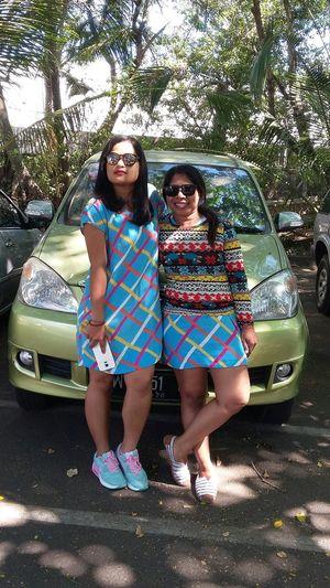Meandmyfriend Takephoto Onparkingarea Smiling :) Blue OOTD ❤ Baliboatshed Niceuniforms Sunglasses :) Lespeec