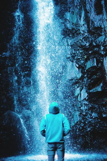 standing man in deeply mind Water Tree Men Full Length Boys Blue Rear View Standing Astronomy Sky Waterfall Water Park Hiker Stream Falling Water Flowing Water A New Beginning