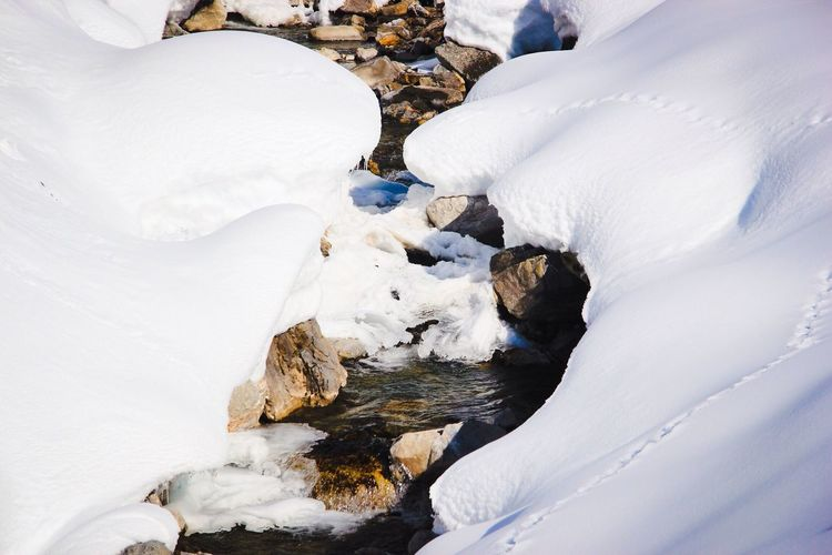 High Angle View Of Stream Amidst Snow