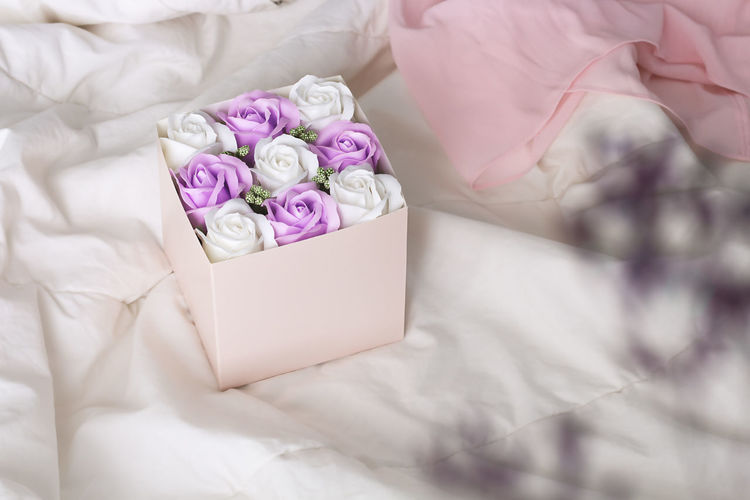 High angle view of white rose on bed