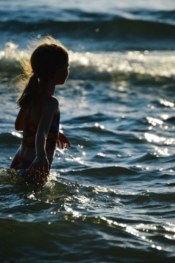 Beach Vacation Children Photography Michigan Evening Glow Evening Light Beautiful Day Beachlovers Beach Life Beach Photography Lake Michigan Lake Evening Sun Girl Daughter Silhouette Silhouette Of Child Lake Swimming Uniqueness Place Of Heart