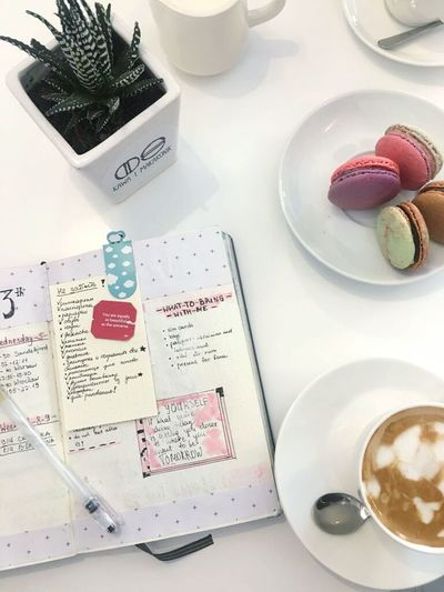 High Angle View No People Indoors  Day Coffee Coffee Time Coffee Cup Macarons Macaroons Macaron Poland Polandisbeautiful Poland 💗 Wroclaw, Poland Wroclaw Wrocław Wroclove Bullet Journal Bujo