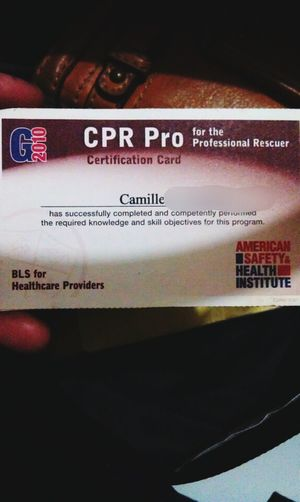 as I organize my bag & wallet I found this.. my certification card on BLS.. looking back(4yrs ago) the training was incredibly fun... :) Cpr Certified! Memories Professional Rescuer
