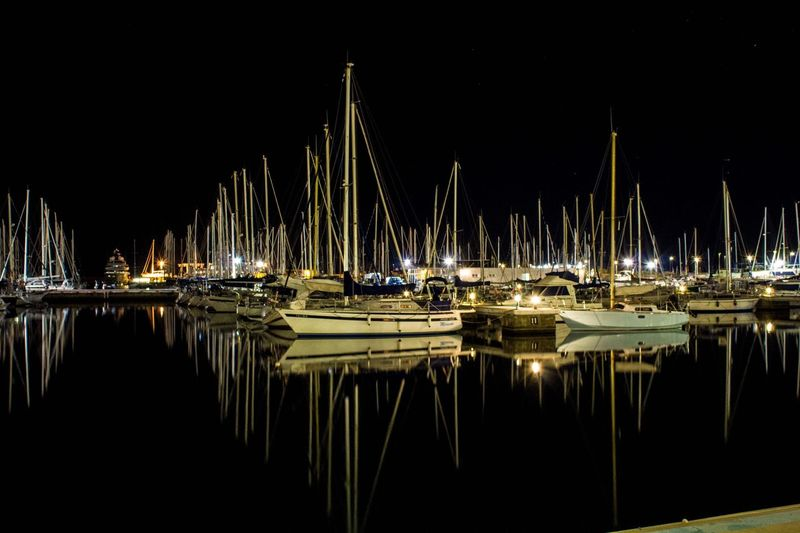 Boats at the port - Boats Night Nautical Vessel Reflection Water Mode Of Transport Harbor Sailboat Nightphotography Vilanovailageltru Barcelona