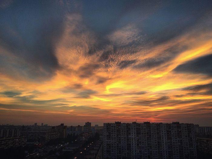 Sunset City Cityscape Orange Color Sky Cloud - Sky Beauty In Nature Urban Skyline City Life No People Skyscraper монебо