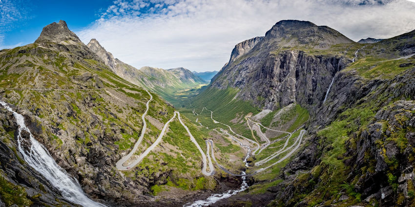 Crazy roads in Norway Mountains. Beautiful Nature EyeEm Best Shots EyeEm Best Shots - Nature EyeEm Nature Lover Landscape_Collection Mountain View Norway Norway🇳🇴 Panorama Beauty In Nature Day Landscape Mountain Mountain Range Mountain Road Nature No People Outdoors Physical Geography Scenics Sky Tranquil Scene Tranquility Trollstigen Winding Road