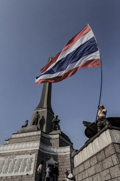 Protest Bangkok Clear Sky Flag HDR Hdr Edit Hdr_Collection Low Angle View Monument National Flag Outdoors Patriotism Protest Statue Thailand Victory Victory Monument