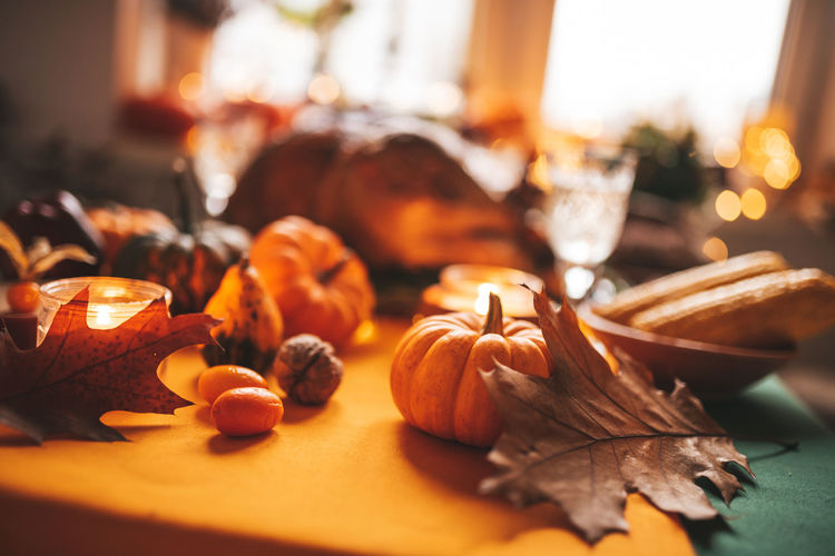 Close-up of pumpkin on table during autumn