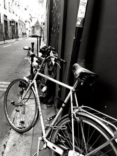 Bicycle Mode Of Transport Building Exterior Outdoors City Streetphotography Street Paris Je T Aime Paris ❤ Paris, France  ILoveMyCity Streetview Bike Noir Et Blanc Blackandwhite