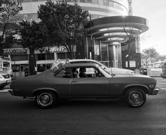 Vintage car on city street
