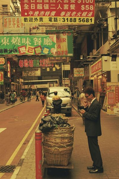 Men City Business Finance And Industry City Life People Rest Smoking Hong Kong Comercial Vintage Street Photography