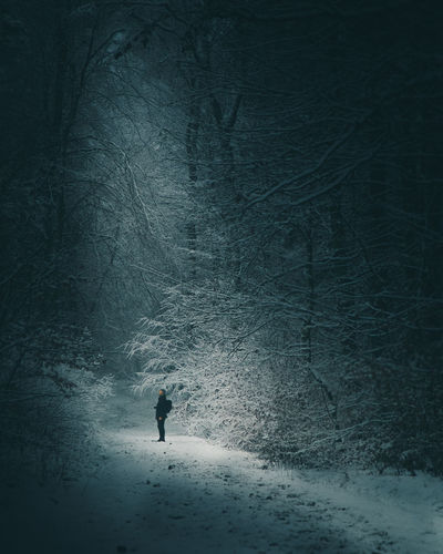 Man walking on snow covered land