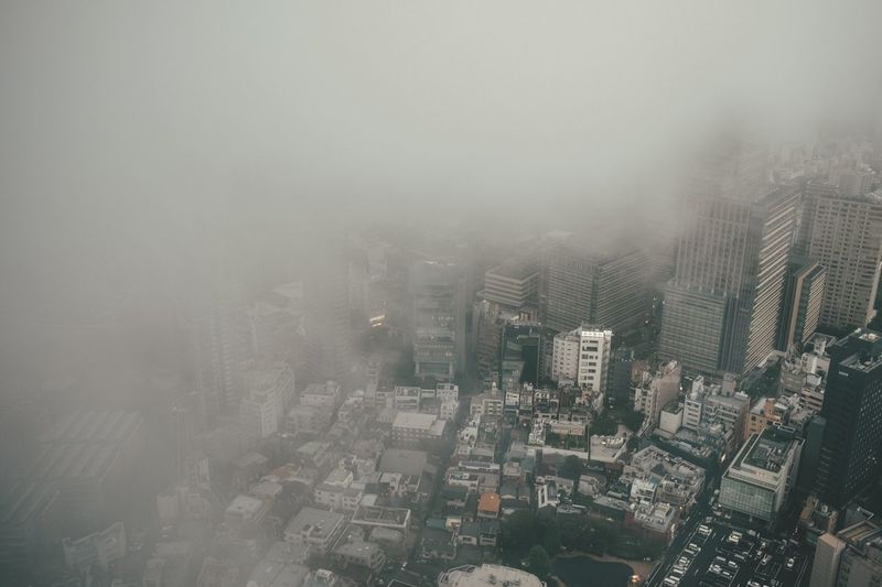 Architecture Skyscraper Building Exterior City Cityscape Fog No People High Angle View Outdoors Urban Skyline Tall Modern Day