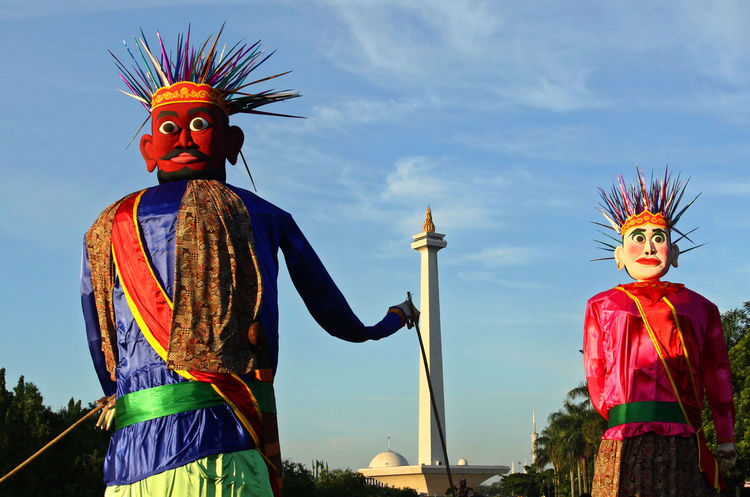 Giant Puppet at Monas Architecture Culture Giant Giant Puppet Jakarta Monas Monument No People Ondel-ondel Outdoors Puppet Sky Statue Traditional