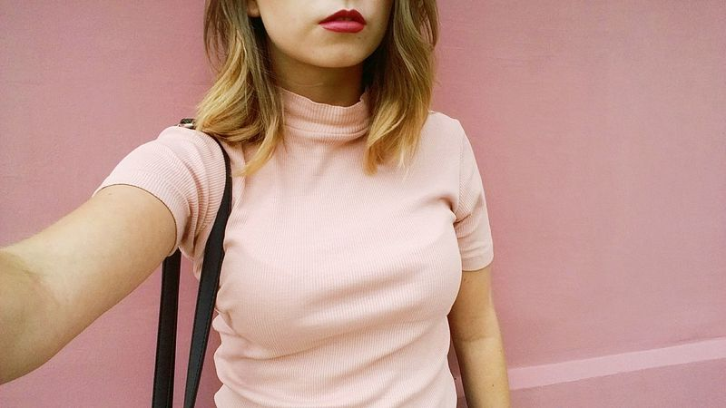 Ootd Matching Colors Outfit Pink Rollneck Fashion OutfitDetails Pastel Summercolors Summerfashion Pink Shirt Pinkhouse Pinkwall Pinklips Lipstick Brightcolors The Week On EyeEm Editor's Picks