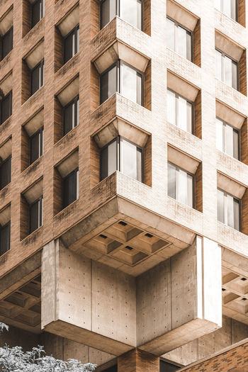 Brutalism style apartment building. symmetry, abstract, geometry. new york city, usa