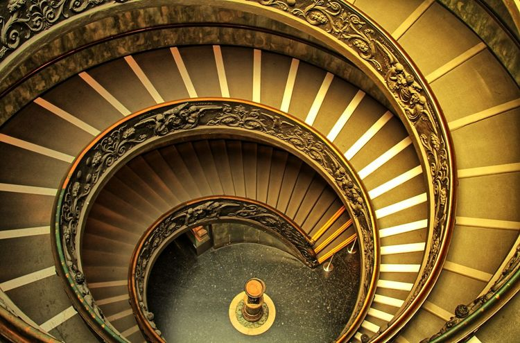 A rare time of low traffic for the spiral Bramante Staircase in the Vatican Museum Architecture Architecture Bramante Bramante Staircase Built Structure Design Hand Rail High Angle View Indoors  Railing Rome Rome, Italy Spiral Spiral Staircase Spiral Stairs Spiral Stairs Staircase Stairs Stairs Steps Steps And Staircases Vatican Vatican City Vatican Museum Spiral Staircase VaticanMuseum First Eyeem Photo