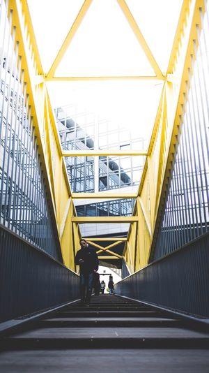 Man moving up on bridge