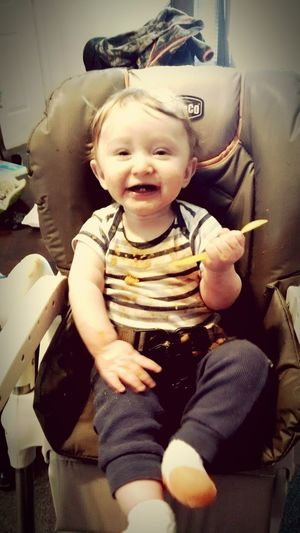 Smiling Learning To Eat Innocence Cute Babyhood Baby