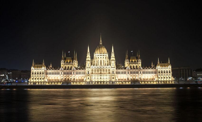 Danube river and illuminated hungarian parliament building at night