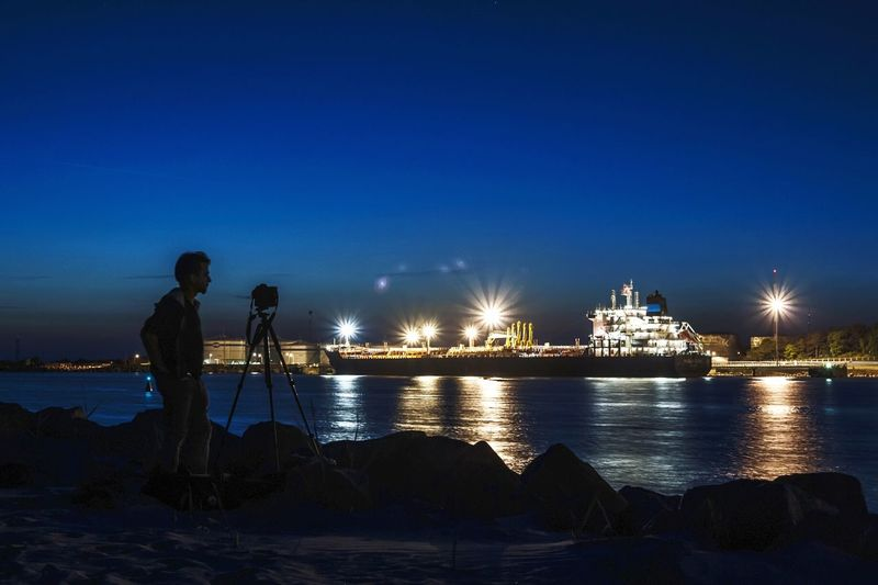 Night Sea Working City Standing Water People Outdoors Sky Photographer Nightphotography Long Exposure Shutting Time Shillouette