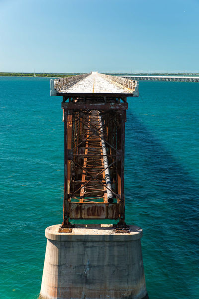 The old bridge at Bahia Honda state park, Florida Keys. Keys Transportation Architecture Blue Bridge Built Structure Clear Sky Day Florida Nature No People Outdoors Scenics Sea Sky Sunlight Travel Destinations Water Wood - Material