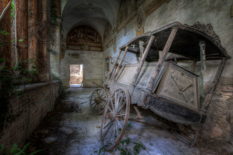 Old moarning coach found in an abandoned monastry somewhere in Italy Decay Abandoned Abandoned Buildings Abandonedplaces Bad Condition Damaged Decaying Demolished Hdr Edit Hdrphotography History Indoors  Italy Moarning Coach Monastry No People Obsolete Old Ruined Run-down The Past Urbex Urbexphotography