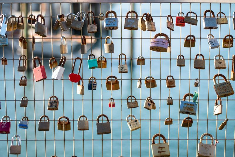Close-Up Of Padlocks Hanging Fence