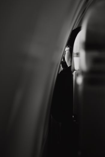 Close-up of person in bus